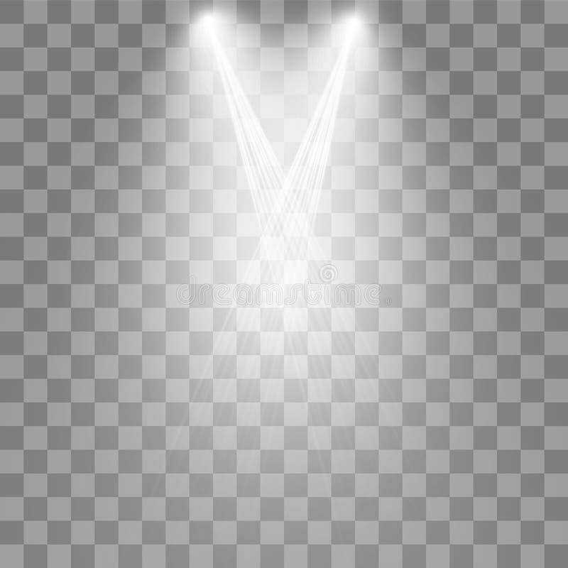 Projecteurs de vecteur sc?ne Effets de la lumi?re illustration de vecteur