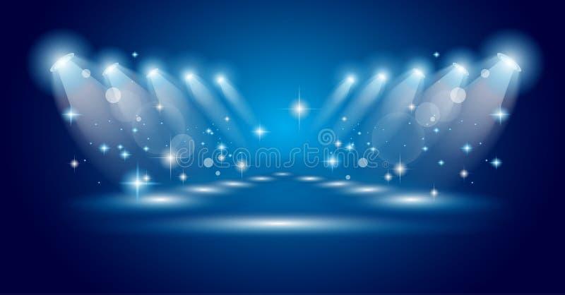 Projecteurs magiques avec les rayons bleus illustration libre de droits