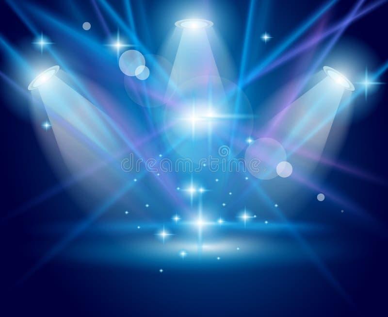 Projecteurs magiques avec les rayons bleus et l'effet rougeoyant illustration stock