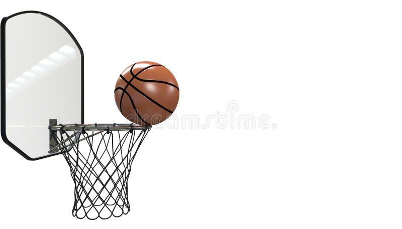 Projectile de basket-ball dans un jeu fin professionnelle d'isolement sur la forme physique noire de fond et de sports illustration de vecteur