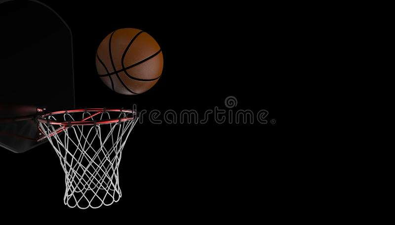 Projectile de basket-ball dans un jeu fin professionnelle sur la forme physique noire de fond et de sports illustration libre de droits