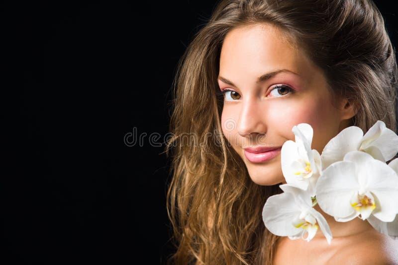 Projectile magnifique de beauté de plan rapproché de brunette. photos stock