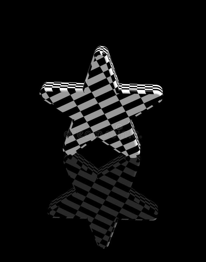 Projectile noir et blanc de l'étoile 3d illustration stock