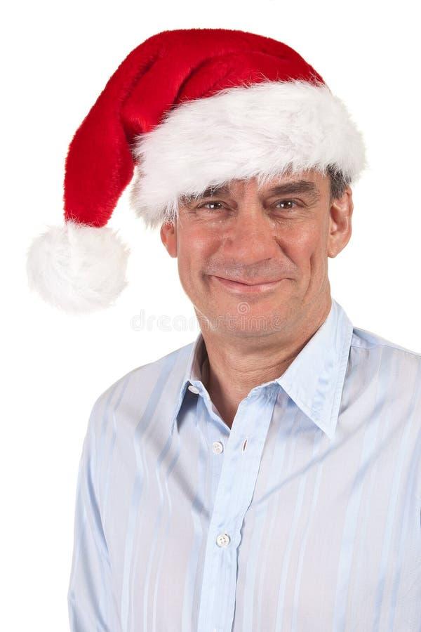 Projectile principal d'homme de sourire bel dans le chapeau de Santa photos libres de droits