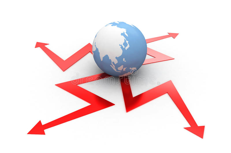 Download Projecting Different Arrows To All Sides From Globe Stock Illustration - Illustration: 39808742