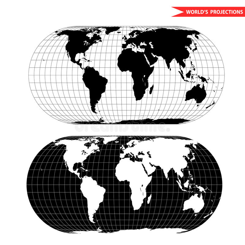 Projection cartographique du monde d'Eckert illustration stock