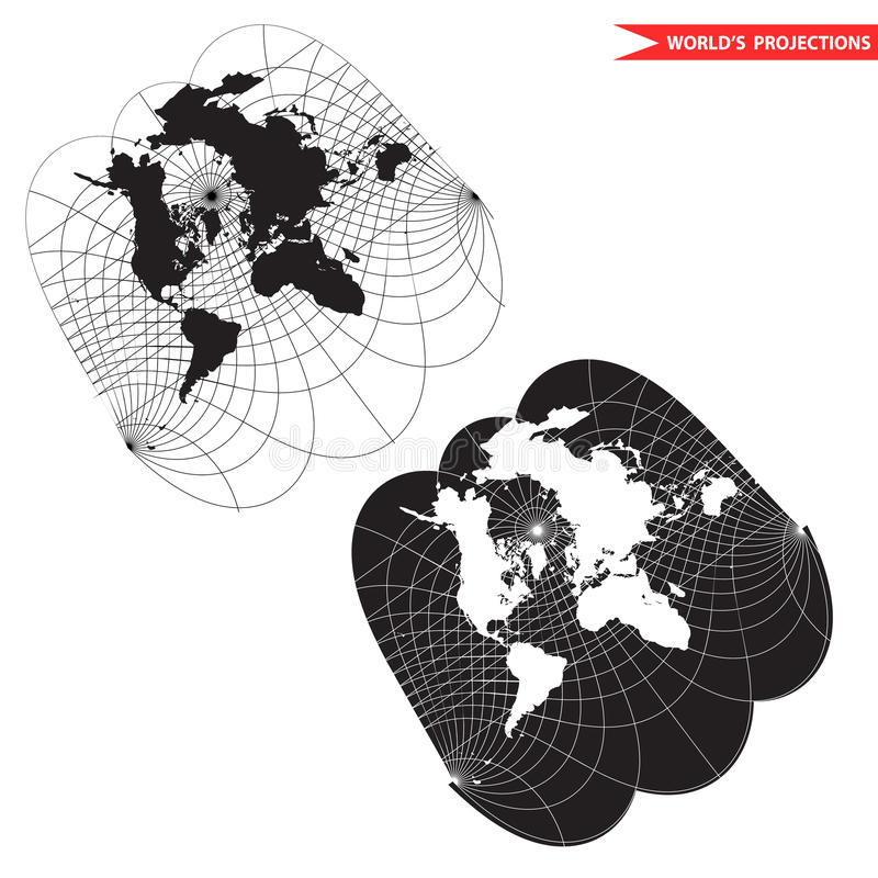 Projection cartographique du monde d'Obliqe illustration de vecteur