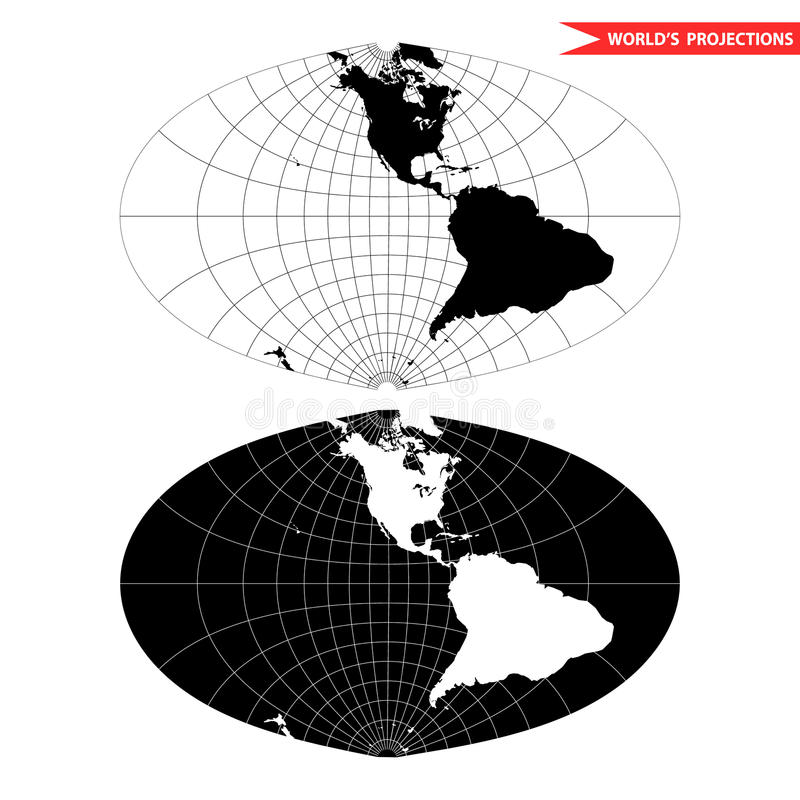 Projection cartographique ovale du monde illustration de vecteur