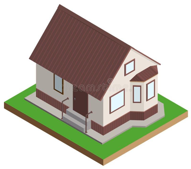 Projection isométrique de manoir privé de maison illustration de vecteur