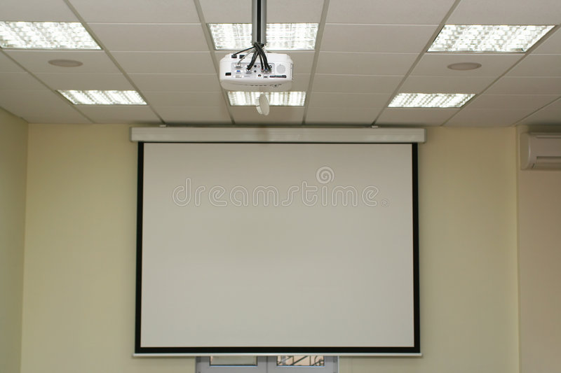 Download Projection Screen In The Boardroom With Overhead Projector Stock Image - Image: 1942397