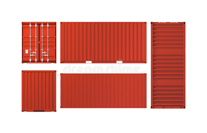 Projections of red cargo container isolated on white. Background, 3d illustration vector illustration