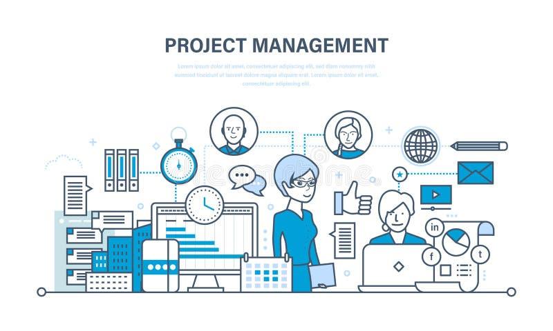 Projectleiding, organisatie van het het werk proces en tijd, groepswerk royalty-vrije illustratie
