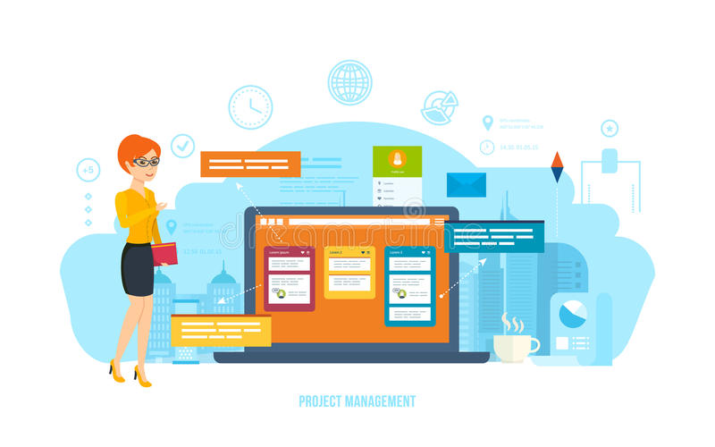 Projectleiding, tijdbeheer, plaatsende doelstellingen, bedrijfsprocessen, controle, motivatie stock illustratie