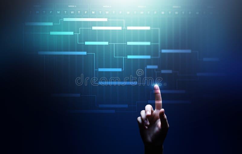 Projectleidingsdiagram, tijdbeheer, zaken en technologieconcept op het virtuele scherm royalty-vrije stock afbeeldingen