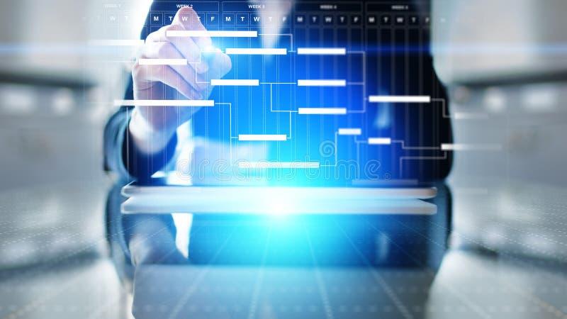 Projectleidingsdiagram, tijdbeheer, zaken en technologieconcept op het virtuele scherm stock foto