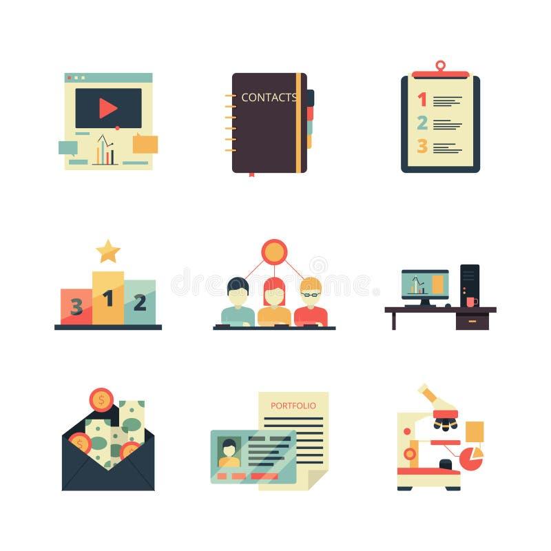 Projectleidingspictogram Bedrijfsproduct planningsverslag die het teamvector gekleurde symbolen houden van het analyseweb stock illustratie