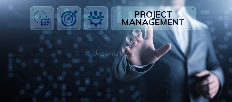 Projectleidingstijd Plannings bedrijfsconcept op het scherm royalty-vrije illustratie