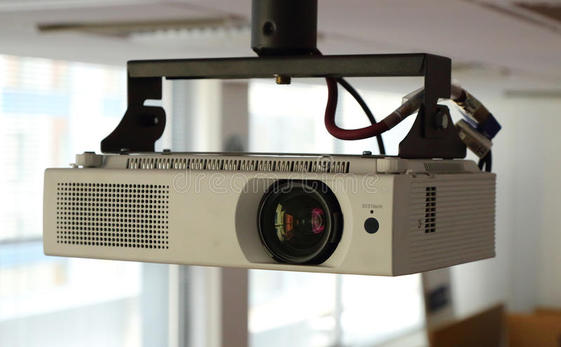 Projector. A close up image of a projector in a conference room stock photo