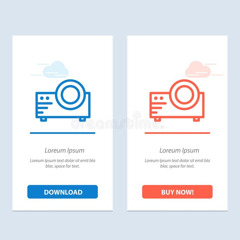 Projector, Film, Movie, Multi Media  Blue and Red Download and Buy Now web Widget Card Template royalty free illustration