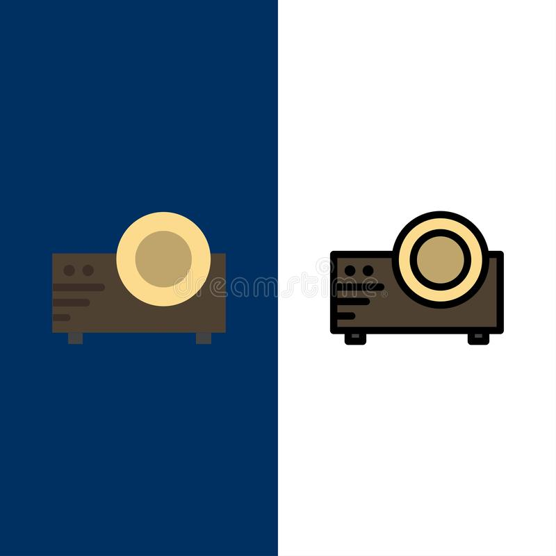 Projector, Film, Movie, Multi Media  Icons. Flat and Line Filled Icon Set Vector Blue Background royalty free illustration