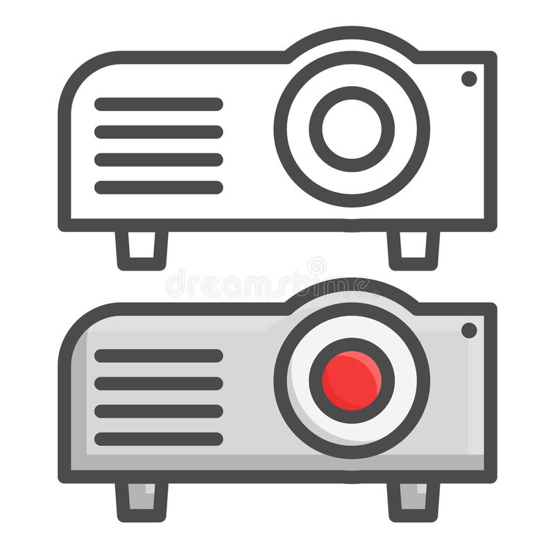 Projector flat icon, presentation and meeting, vector graphics, line and color icons on a white background, eps 10. Projector flat icon, presentation and vector illustration
