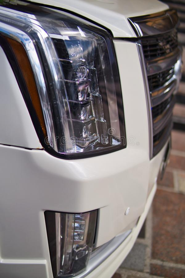 Projector headlight on the modern car stock image