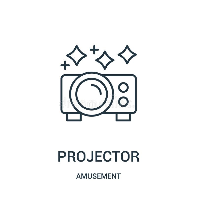 Projector icon vector from amusement collection. Thin line projector outline icon vector illustration. Linear symbol for use on web and mobile apps, logo royalty free illustration