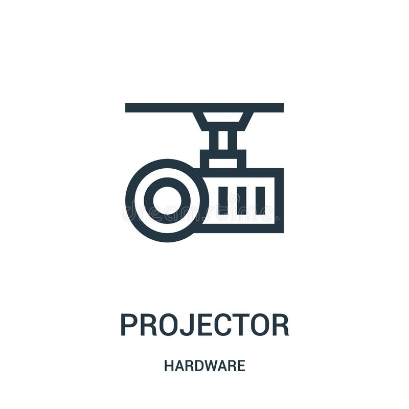 Projector icon vector from hardware collection. Thin line projector outline icon vector illustration. Linear symbol for use on web and mobile apps, logo, print royalty free illustration