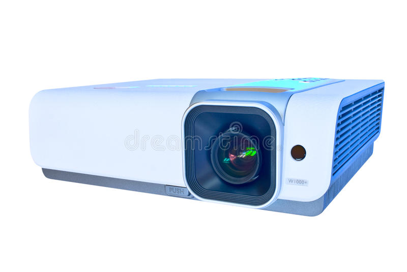 Projector isolated on white. Multimedia full hd video projector isolated on white stock images