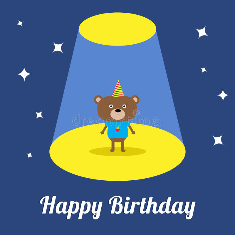 Projector light in the circus show Cute cartoon bear with hat. Birthday Card. Flat design royalty free illustration