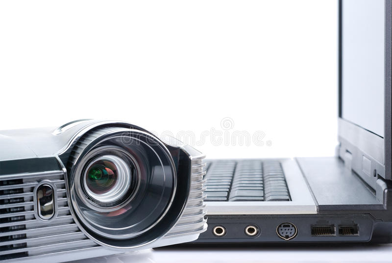Download Projector and notebook stock image. Image of lens, black - 23583791