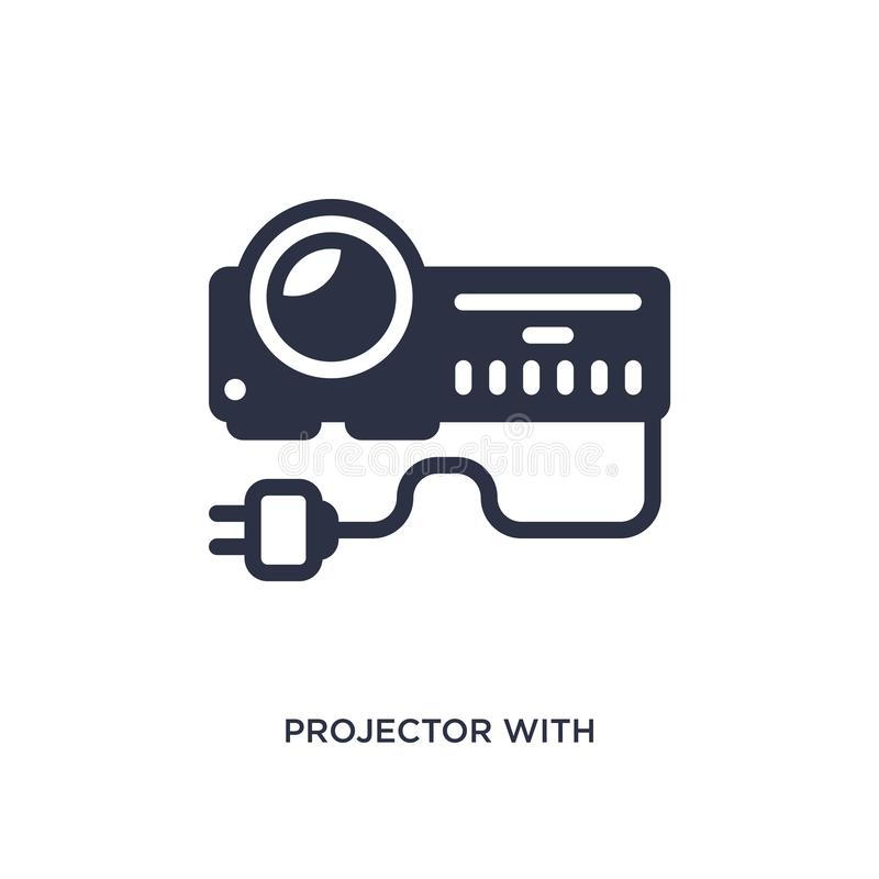 projector with plug icon on white background. Simple element illustration from cinema concept royalty free illustration