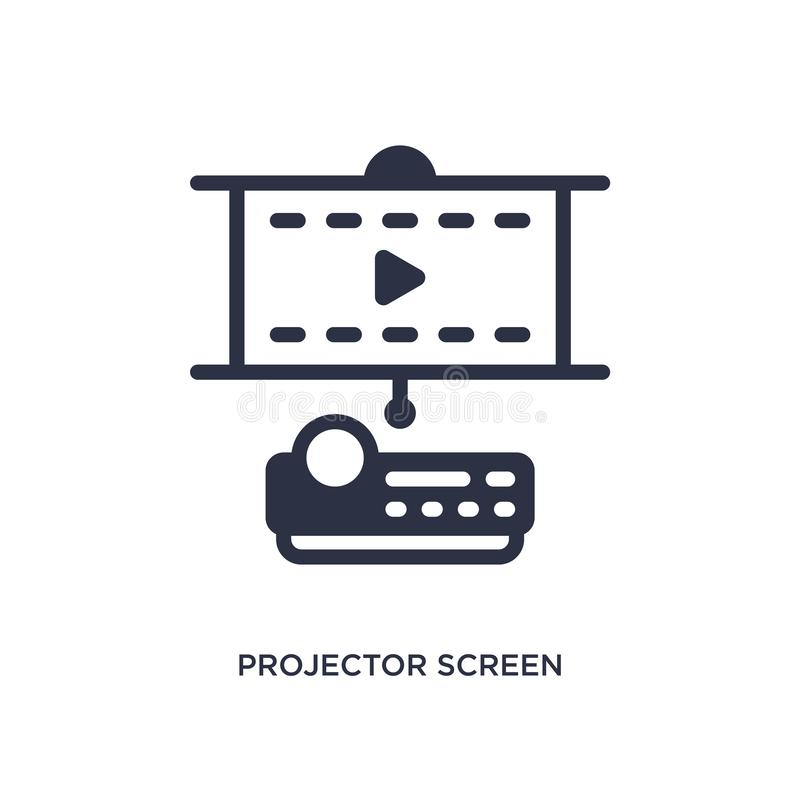 projector screen icon on white background. Simple element illustration from cinema concept stock illustration