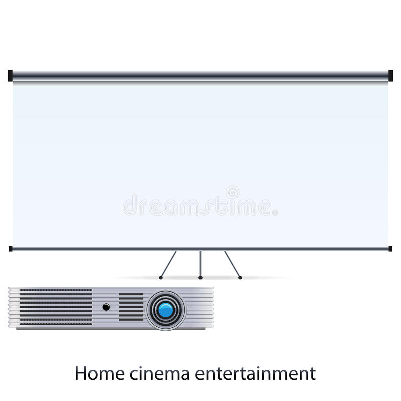 Projector and screen. Vector cinema projector and blank white screen royalty free illustration