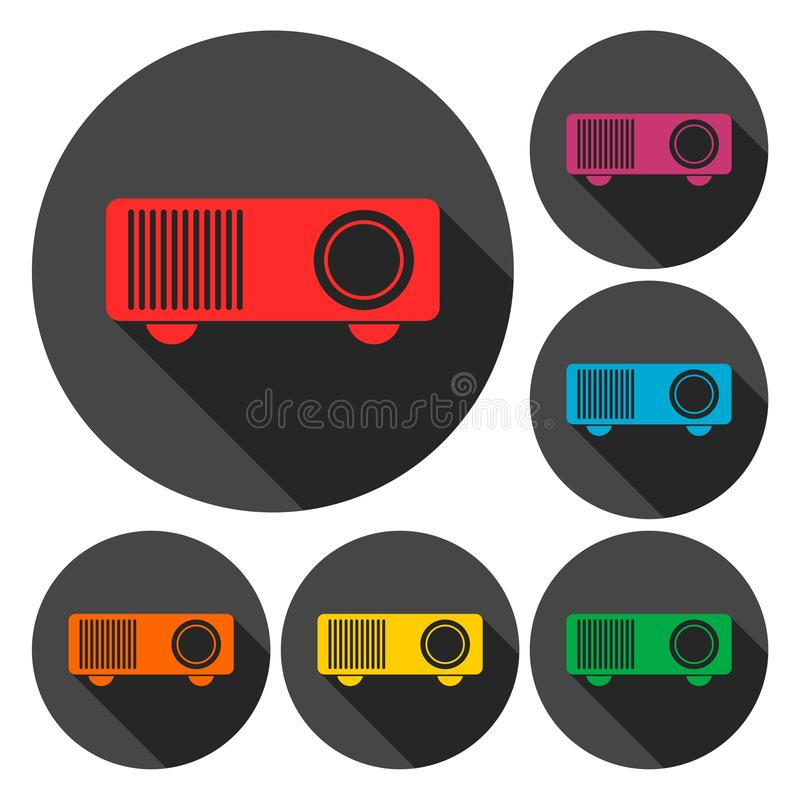 Projector sign icons set with long shadow. Vector icon stock illustration