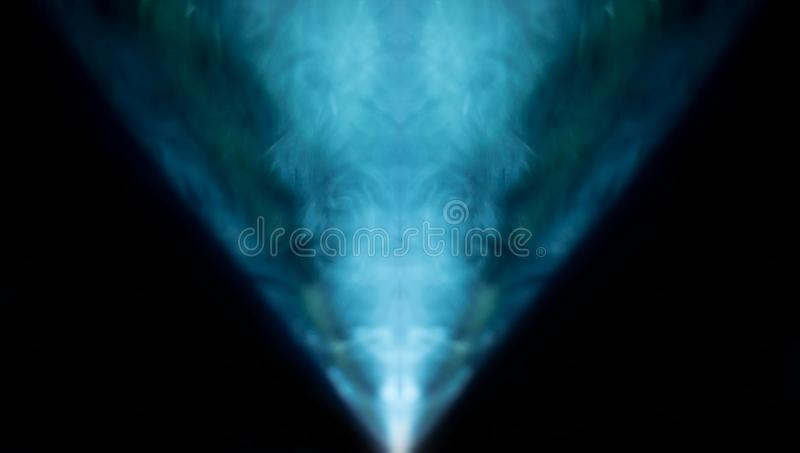 Projector spotlight blue color , smoke texture background . light beam screening and glowing for movie cinema and film multimedia. Production in dark black room stock image
