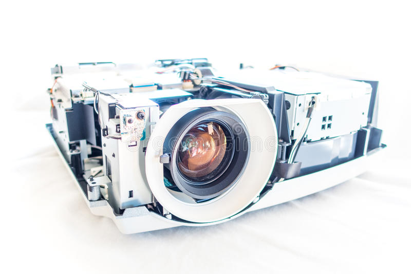 Projector taken apart. Parts of a projector without it´s cover stock photography