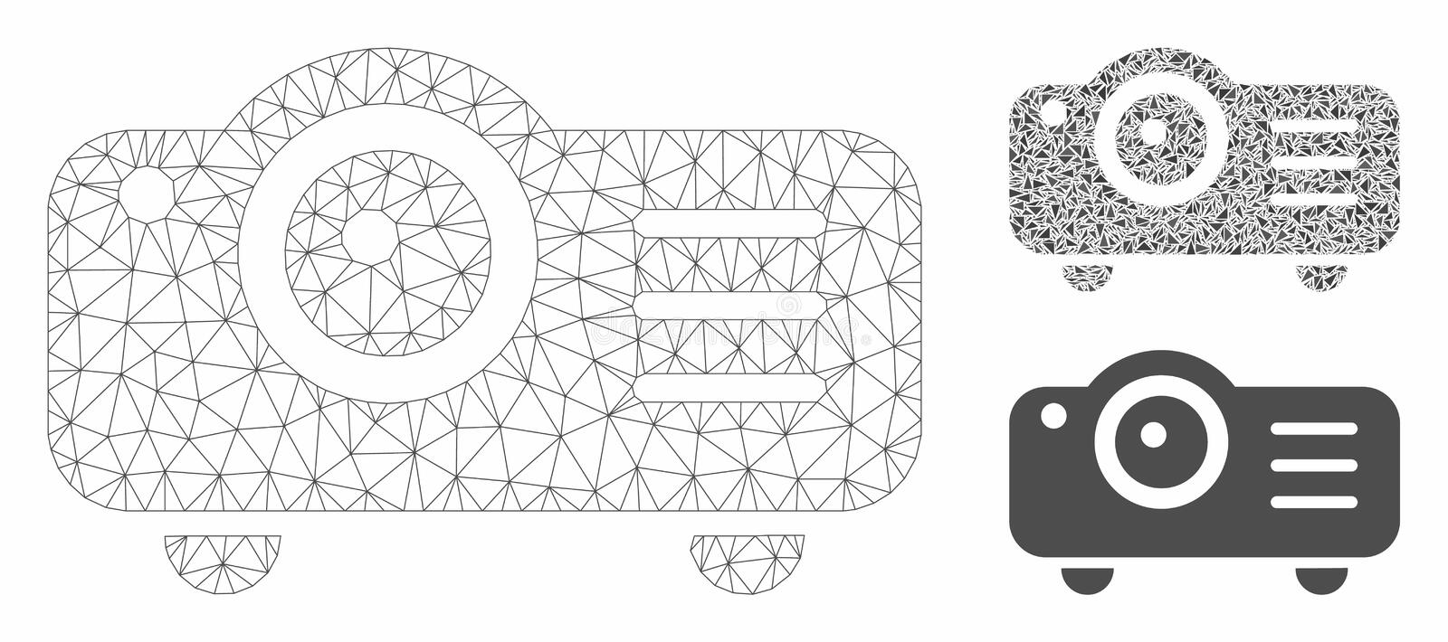 Projector Vector Mesh Carcass Model and Triangle Mosaic Icon. Mesh projector model with triangle mosaic icon. Wire carcass triangular mesh of projector. Vector stock illustration