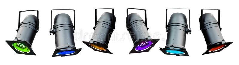 Projectores coloridos da fase ilustração stock