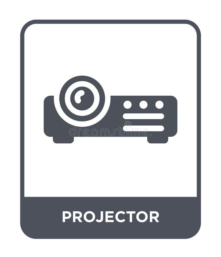 projectorpictogram in in ontwerpstijl Projectorpictogram op witte achtergrond wordt geïsoleerd die eenvoudige en moderne vlakte v royalty-vrije illustratie
