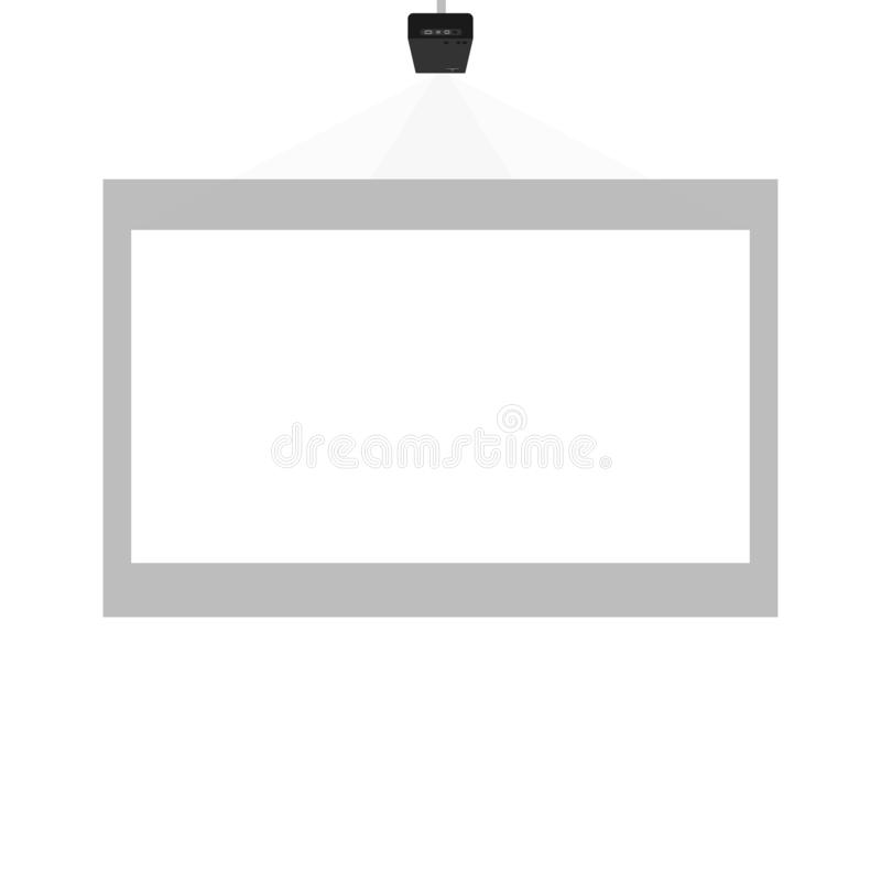 Projectorpresentatie in het klaslokaal of het bureau royalty-vrije illustratie
