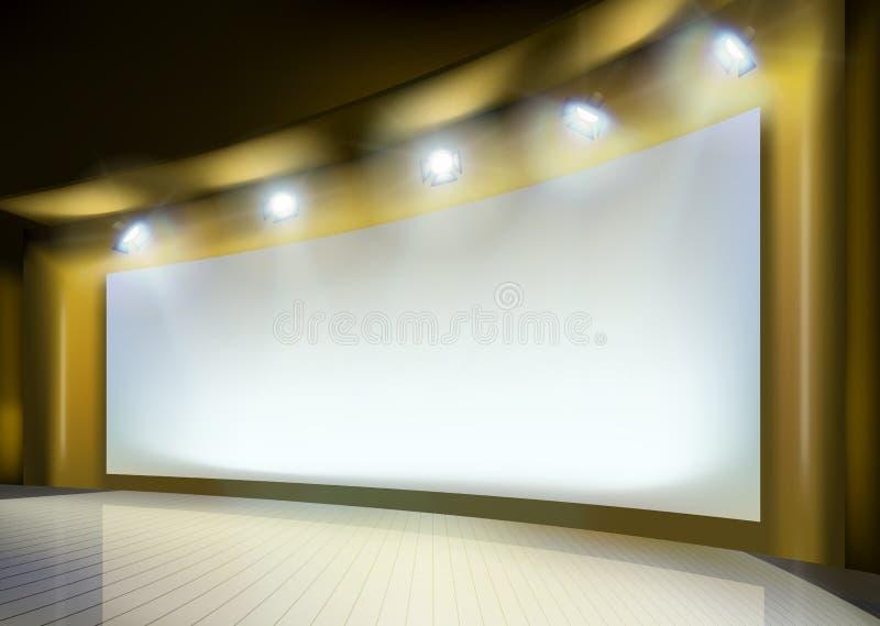Projekcyjny ekran na scenie również zwrócić corel ilustracji wektora ilustracji