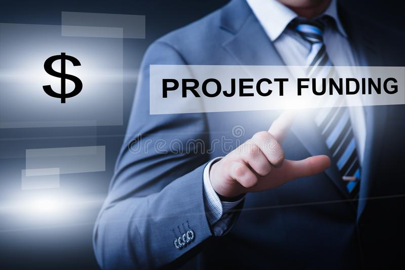 Projekfinanzierungs-Start-Investition Crowdfunding-Risikokapital-Internet-Geschäfts-Technologie-Konzept lizenzfreie stockfotos