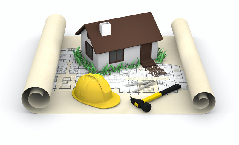 projektów ciężkiego kapeluszu domu kolor żółty royalty ilustracja
