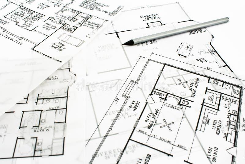 projektów domu ołówka plan zdjęcia stock