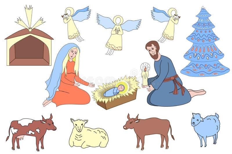 Projektów elementy rodzima scena Świątobliwa rodzina, aniołowie i zwierzęta, royalty ilustracja