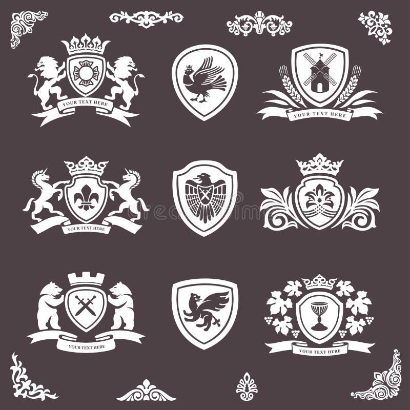 Projektów heraldyczni elementy royalty ilustracja