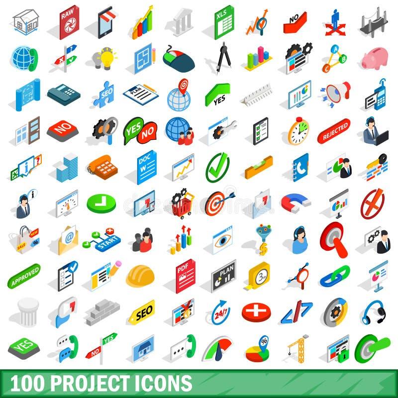 100 projektów ikon ustawiających, isometric 3d styl royalty ilustracja