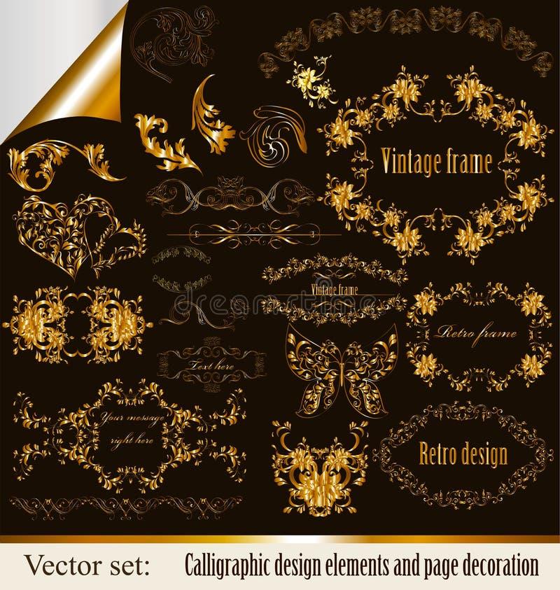Projektów kaligraficzni wektorowi elementy ilustracji