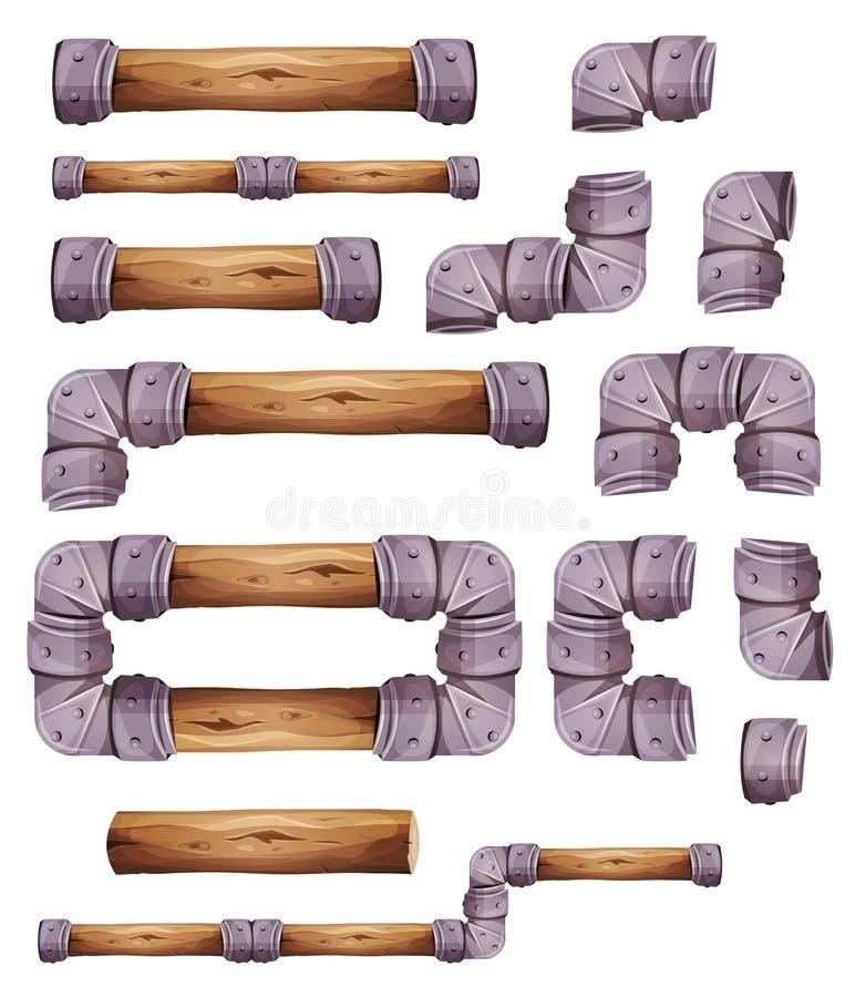 Projektów Kamienni I Drewniani elementy Dla Estradowego Gemowego Ui ilustracja wektor